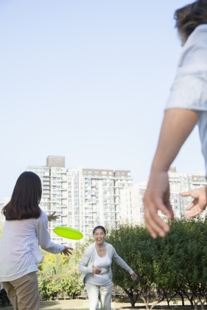 generation gap: Granddaughter with grandparents playing Frisbee in the park  Stock Photo