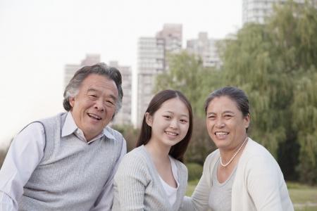 granddaughter: Granddaughter with grandparents, portrait