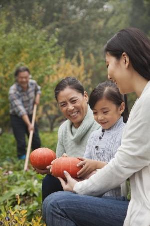Happy family harvesting vegetables in garden photo