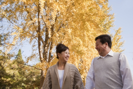 recreational area: Mature Couple Walking in the Park