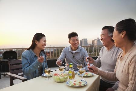 familia cenando: Partido de la barbacoa de la familia Foto de archivo