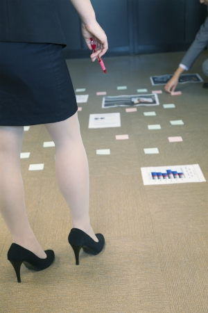 Brainstorming session on the office floor photo