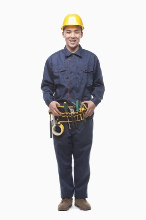 construction tools: Portrait of Construction Worker, Studio Shot Stock Photo