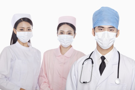 healthcare workers: Portrait of Healthcare workers with surgical masks, studio shot