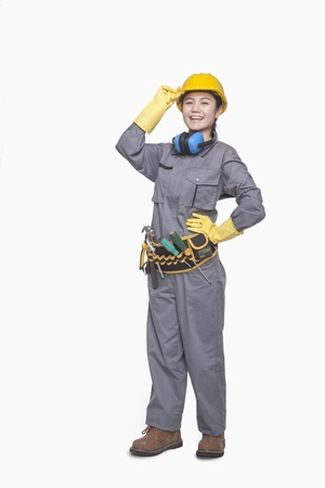 female construction worker: Female construction worker, portrait  Stock Photo