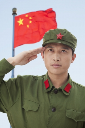 Soldier Saluting Chinas Flag