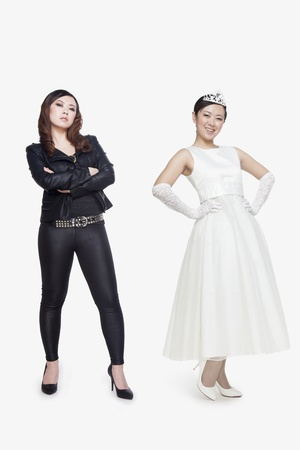 contrasts: Princess and bad girl Stock Photo