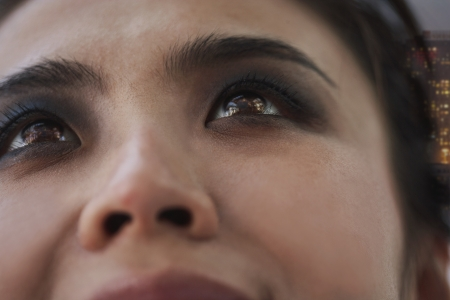 counterculture: Young Woman with Smoky Eyes Close-Up