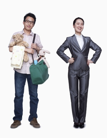 Businesswoman and stay in home father Stock Photo - 35987333