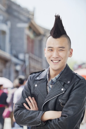 mohawk: Young man with punk Mohawk portrait