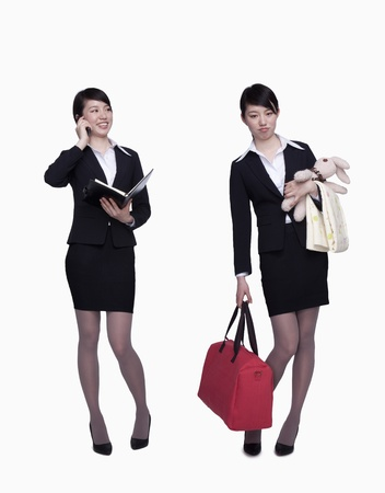 role reversal: Businesswoman working, businesswoman with bag and children clothes, opposite Stock Photo