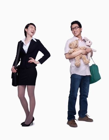 Businesswoman and stay in home father photo
