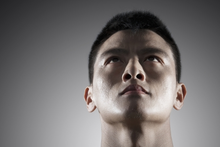 and the horizontal man: Portrait of young man, face only Stock Photo