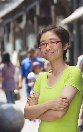 incidental people: Portrait of shorthaired woman on the street, Beijing
