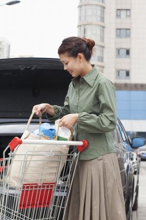 woman shopping cart: Woman with shopping cart