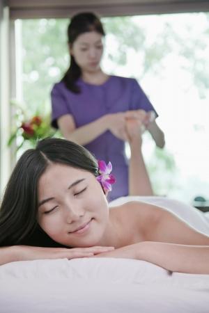 Woman Receiving Foot Massage photo