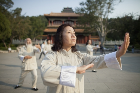 Chinese Practicing Tai Ji Stock Photo
