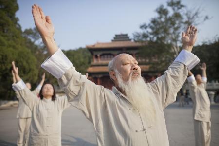 practicing: Chinese Practicing Tai Ji Stock Photo