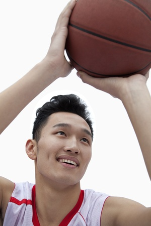 lining up: Basketball Player Lining Up His Shot Stock Photo