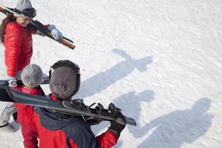 ski walking: Family with Ski Gear, Walking On the Snow