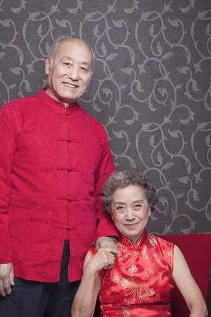 Portrait of senior couple in traditional Chinese clothing