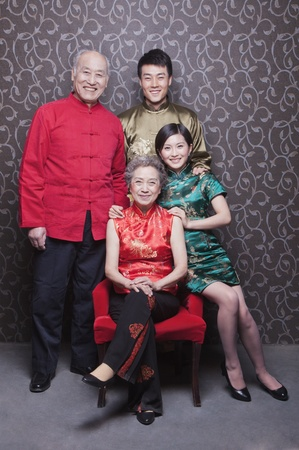 Family Portrait In Chinese Traditional Clothing