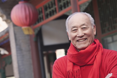 chinese courtyard: Senior Man in Traditional Chinese Courtyard