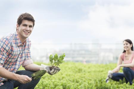 hombres jovenes: Hombre sonriente joven que sostiene la planta y la jardiner�a con la mujer joven en un jard�n de la azotea Foto de archivo