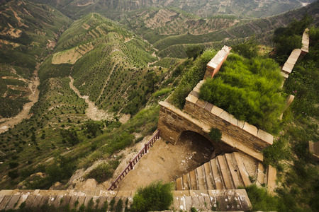 environmental issues: Built structure in the mountains on the side of a hill,  Shanxi Province, China  Stock Photo