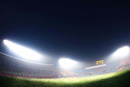 digital composite: Digital composite of soccer field and night sky