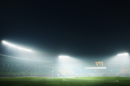 Digital composite of soccer field and night sky