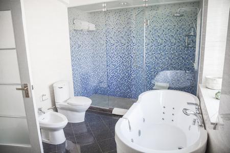 toilet sink: Modern, clean, bathroom with toilet, sink, shower and bathtub.