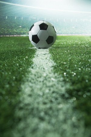 soccer sport: Soccer field with soccer ball and line, side view