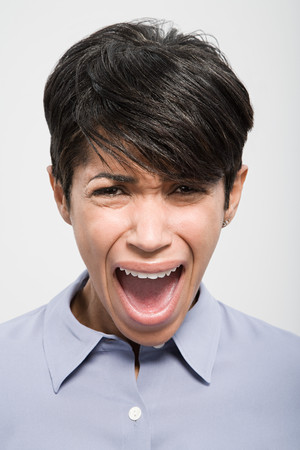 mouth close up: Portrait of a woman shouting