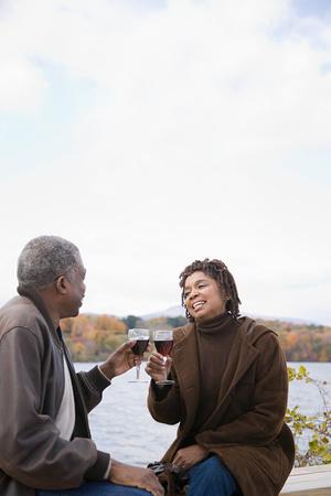 A couple toasting photo