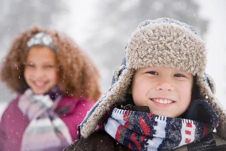 bi racial: Children in the snow