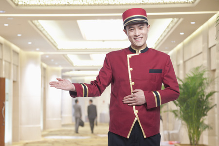 hotel service: Portrait of Bellhop, Greeting