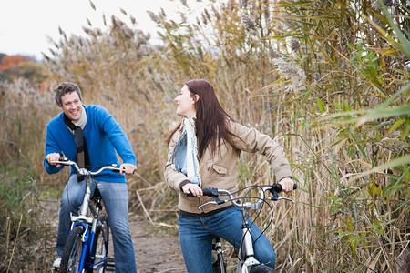 A couple cycling