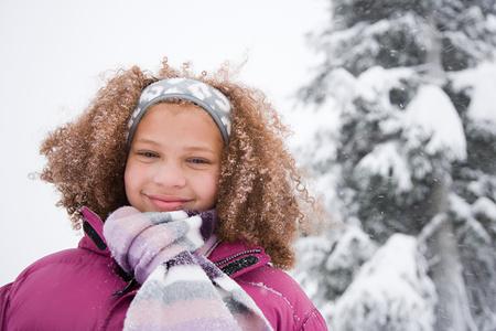 bi racial: Girl in the snow