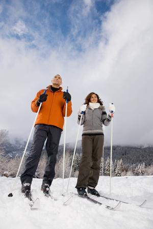 adulthood: A mature couple skiing