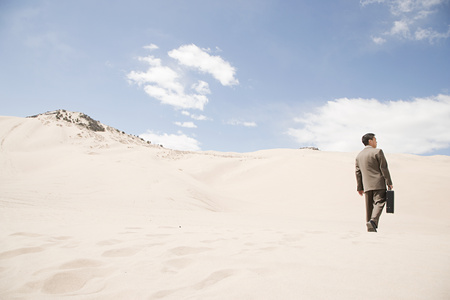 30 to 40 year olds: Businessman in desert