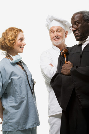 afro caribbean ethnicity: Portrait of a surgeon a judge and a chef