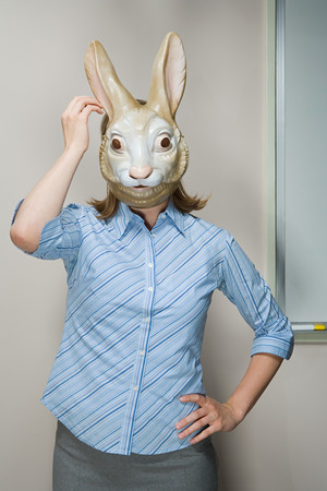 Office worker wearing mask photo