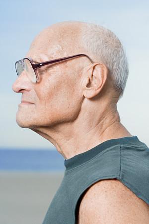informal clothing: Profile of a senior man Stock Photo