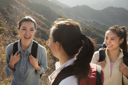 getting away from it all: Women hiking, portrait Stock Photo
