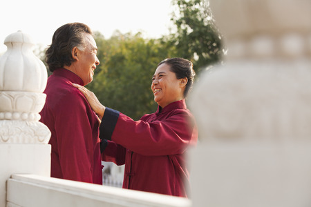 practitioners: Two senior Taijiquan practitioners in Beijing