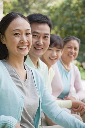 generational: Multi generational family portrait, outdoors Beijing