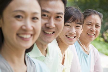 Multi generational family portrait, outdoors Beijing