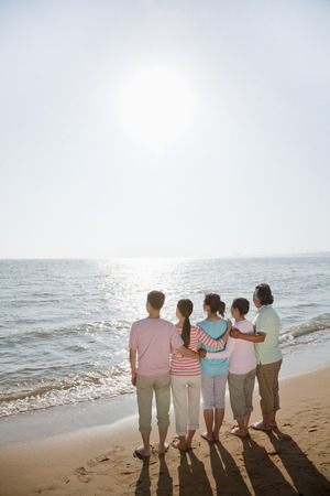 generational: Multi generational family, arms around each other by the beach, rear view