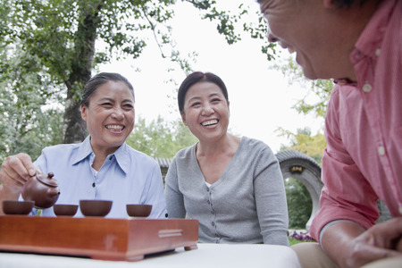 mature people: Group of mature people drinking Chinese tea in the park